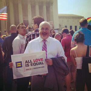 Congressman Mark Pocan stands outside of the United States Supreme Court on June 26 as the decision striking down the Defense of Marriage Act is announced.