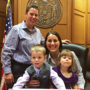 Kat and Teresa Riley with their children after Dane County Circuit Judge Shelley Gaylord ruled their marriage was constitutional and must be recognized under Wisconsin adoption laws.
