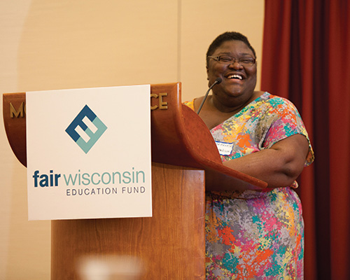 Sheltreese accepting Fair Wisconsin's Activist of the Year award this past spring.