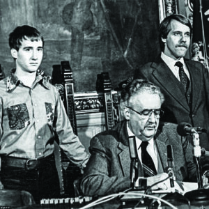 Signing of AB70 into law by Governor Lee Dreyfus (R),  February 1982. Left to right: Leon Rouse, Governor Dreyfus, David Clarenbach